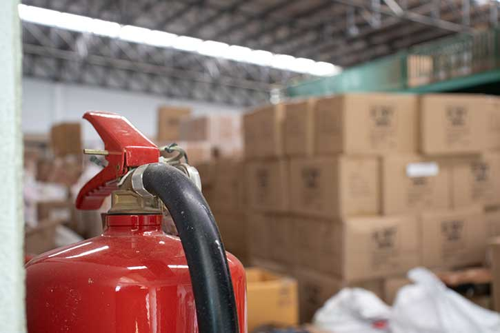 Fire extinguisher in a warehouse